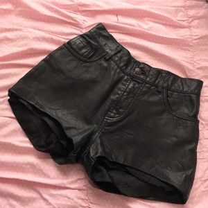 Reformation Vintage Black Leather Shorts